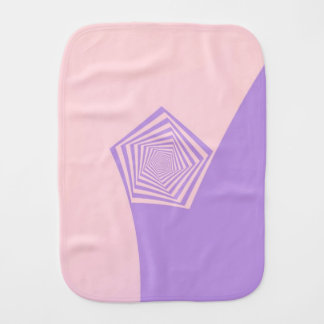 Pentagon Spiral in Pale Pink and Lavender Burp Cloth