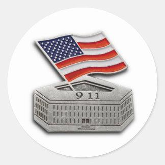 PENTAGON US FLAG 9-11 ROUND STICKER
