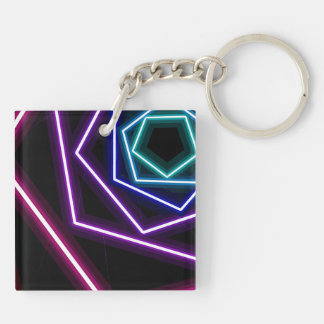pentagonal glitch Double-Sided square acrylic key ring