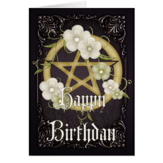 Pentagram 2 Wicca Happy Birthday Card