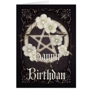 Pentagram 3 Wicca Happy Birthday Greeting Card