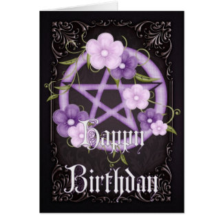 Pentagram 5 Wicca Happy Birthday Greeting Card