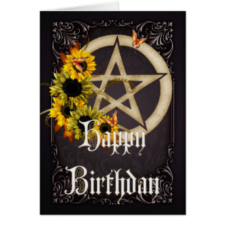 Pentagram 6 Wicca Happy Birthday Greeting Card