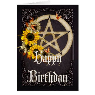 Pentagram 7 Wicca Happy Birthday Greeting Card