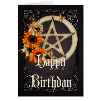 Pentagram 8 Wicca Happy Birthday Greeting Card