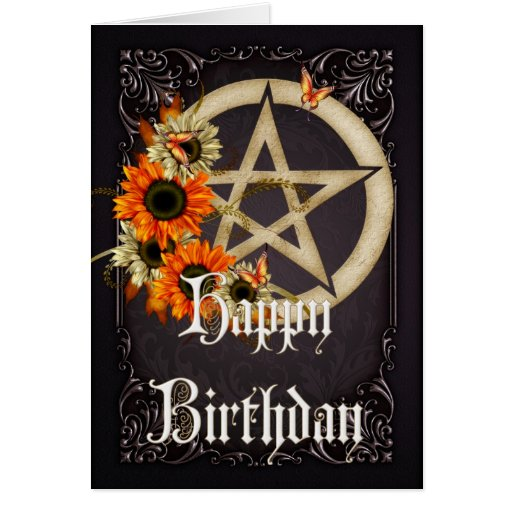 Pentagram 8 Wicca Happy Birthday Greeting Card