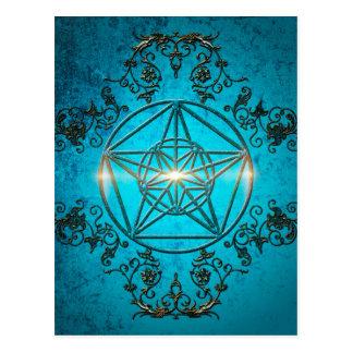 Pentagram, a  magical symbol. postcard