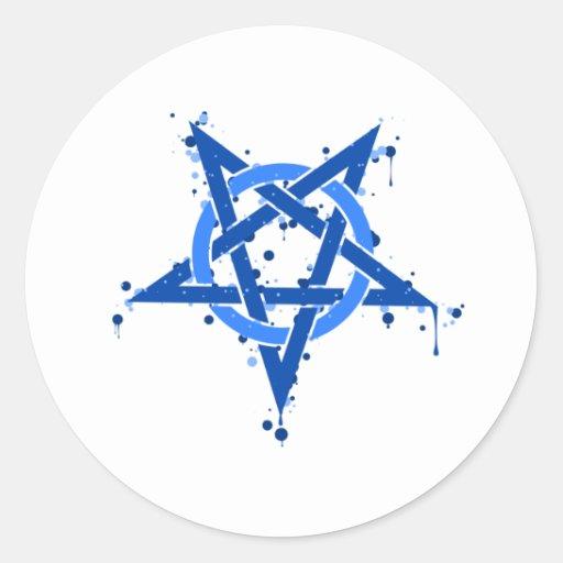 Pentagram Blue Classic Round Sticker