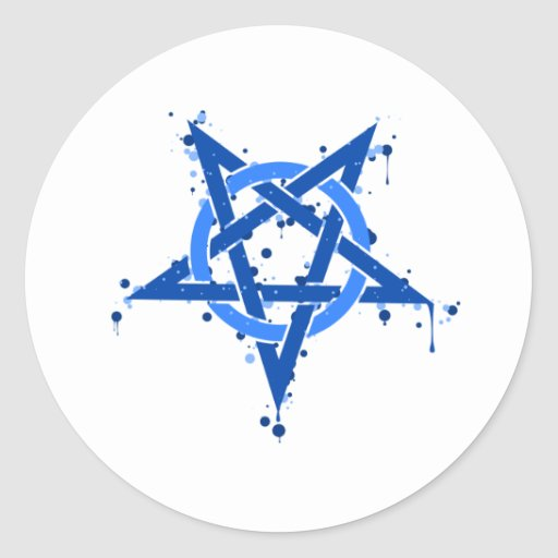 Pentagram Blue Round Sticker