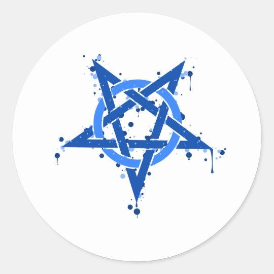 Pentagram Blue Round Sticker