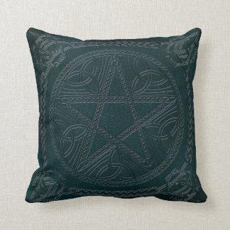 Pentagram Embossed On Leather Look 2-Throw Pillow