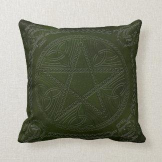 Pentagram Embossed On Leather Look 5-Throw Pillow