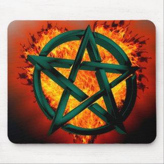 Pentagram Fire Mouse Pad
