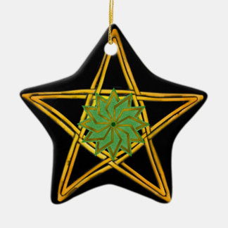 Pentagram - Gold, Green, & Black - Double Sided Christmas Ornament