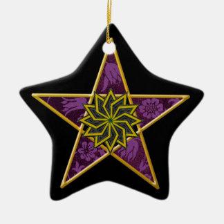 Pentagram - Gold & Purple on Black Ceramic Star Decoration