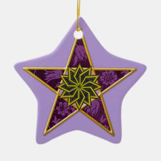 Pentagram - Gold & Purple on Light Purple Ceramic Star Decoration