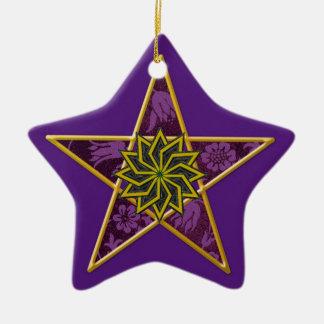 Pentagram - Gold & Purple on Purple Ceramic Star Decoration