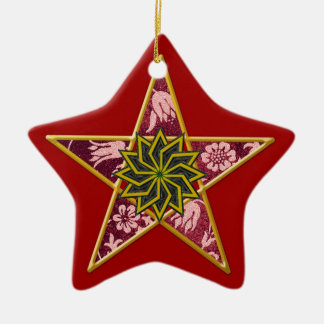 Pentagram - Gold & Purple on Red Ceramic Star Decoration