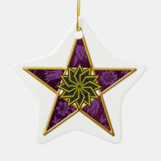 Pentagram - Gold &Purple on White Star Ceramic Star Decoration