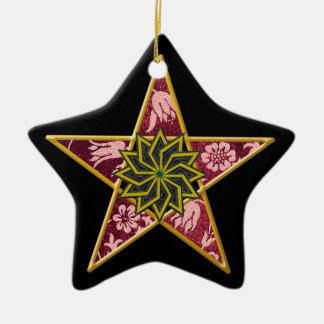 Pentagram - Gold & Red on Black Ceramic Star Decoration