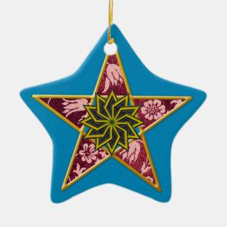 Pentagram - Gold & Red on Blue Ceramic Star Decoration
