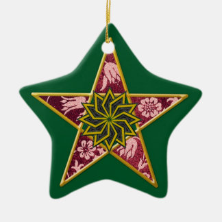 Pentagram - Gold & Red on Green Christmas Ornament