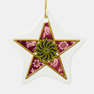 Pentagram - Gold & Red on White Ceramic Star Decoration