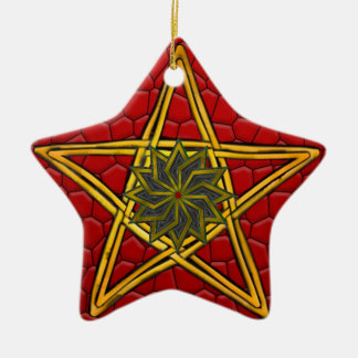 Pentagram - Gold, Red & Purple - Double Sided Christmas Ornament