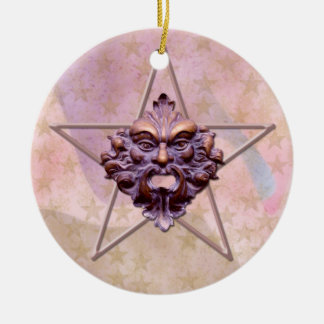 Pentagram &  Green Man Sculpture #1 Round Ceramic Decoration