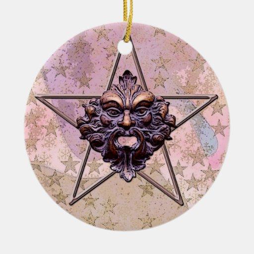 Pentagram &  Green Man Sculpture #1A Ornament