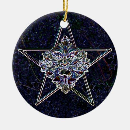 Pentagram &  Green Man Sculpture #1B Christmas Ornaments