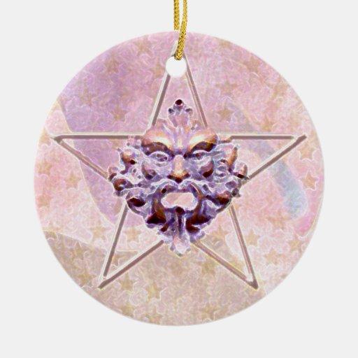 Pentagram &  Green Man Sculpture #1C Christmas Tree Ornament