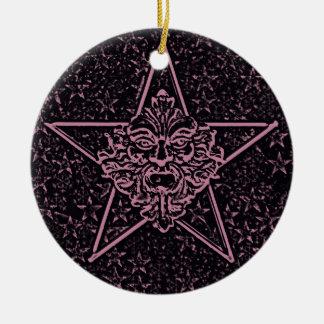 Pentagram Green Man Sculpture 1D Christmas Tree Ornament