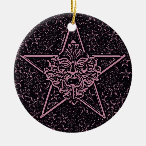 Pentagram &  Green Man Sculpture #1D Christmas Tree Ornament