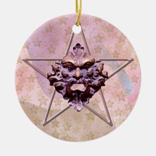 Pentagram &  Green Man Sculpture #1H Ornament