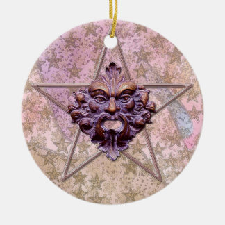 Pentagram &  Green Man Sculpture #1I Double-Sided Ceramic Round Christmas Ornament