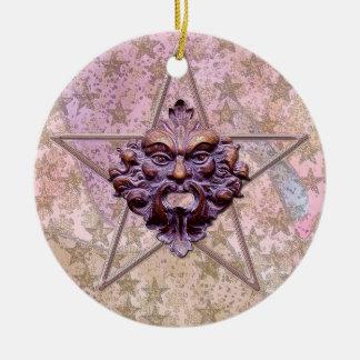 Pentagram Green Man Sculpture 1I Christmas Ornaments