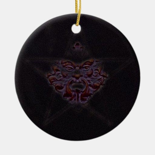 Pentagram &  Green Man Sculpture #1K Christmas Ornaments