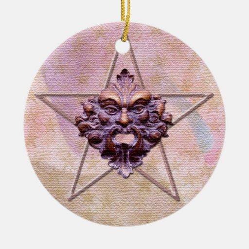 Pentagram &  Green Man Sculpture #1L Ornaments