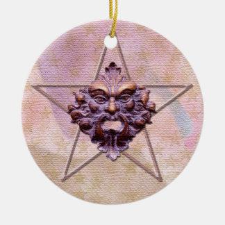 Pentagram &  Green Man Sculpture #1L Round Ceramic Decoration