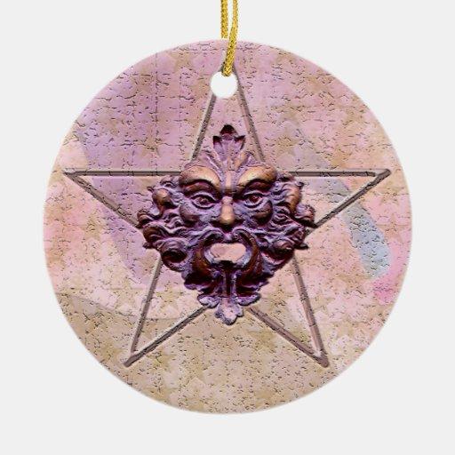 Pentagram &  Green Man Sculpture #1M Christmas Ornament