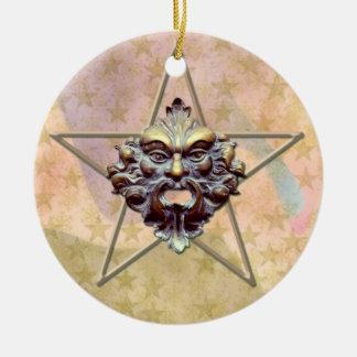 Pentagram &  Green Man Sculpture #2 Round Ceramic Decoration