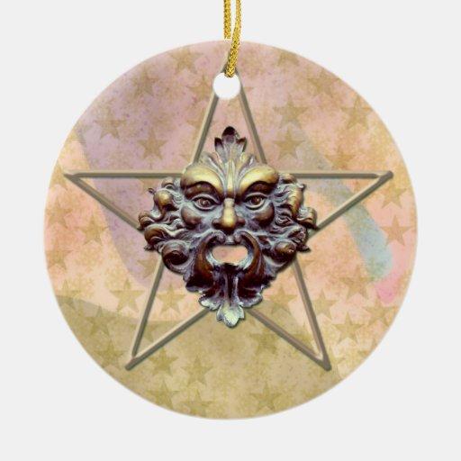 Pentagram &  Green Man Sculpture #2 Ornaments
