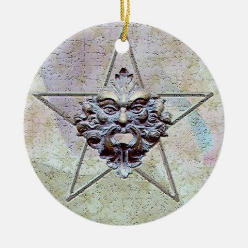 Pentagram &  Green Man Sculpture #2B Christmas Ornaments