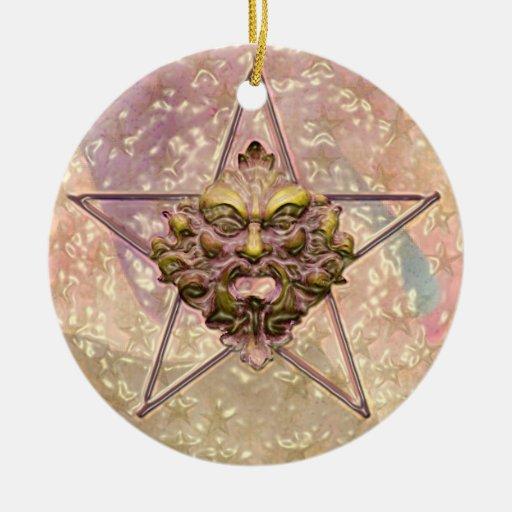 Pentagram &  Green Man Sculpture #2C Christmas Tree Ornament