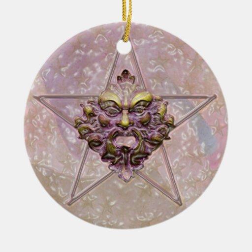 Pentagram &  Green Man Sculpture #2D Christmas Tree Ornaments