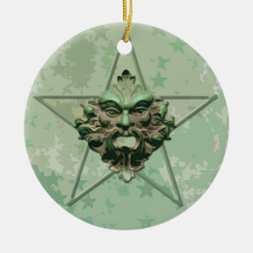 Pentagram &  Green Man Sculpture #2E Ornament