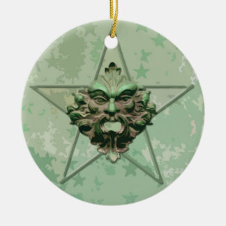 Pentagram Green Man Sculpture 2E Ornament