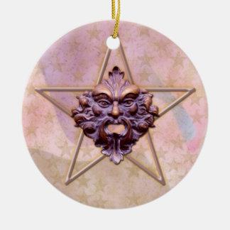 Pentagram &  Green Man Sculpture #3 Christmas Ornament