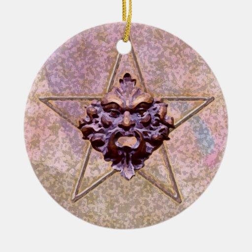 Pentagram &  Green Man Sculpture #3A Ornaments